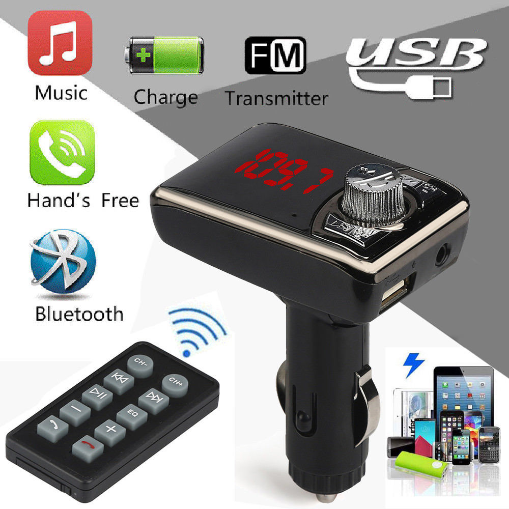 Bluetooth Wireless FM Transmitter MP3 Player Handsfree Auto Kit USB TF SD Remote