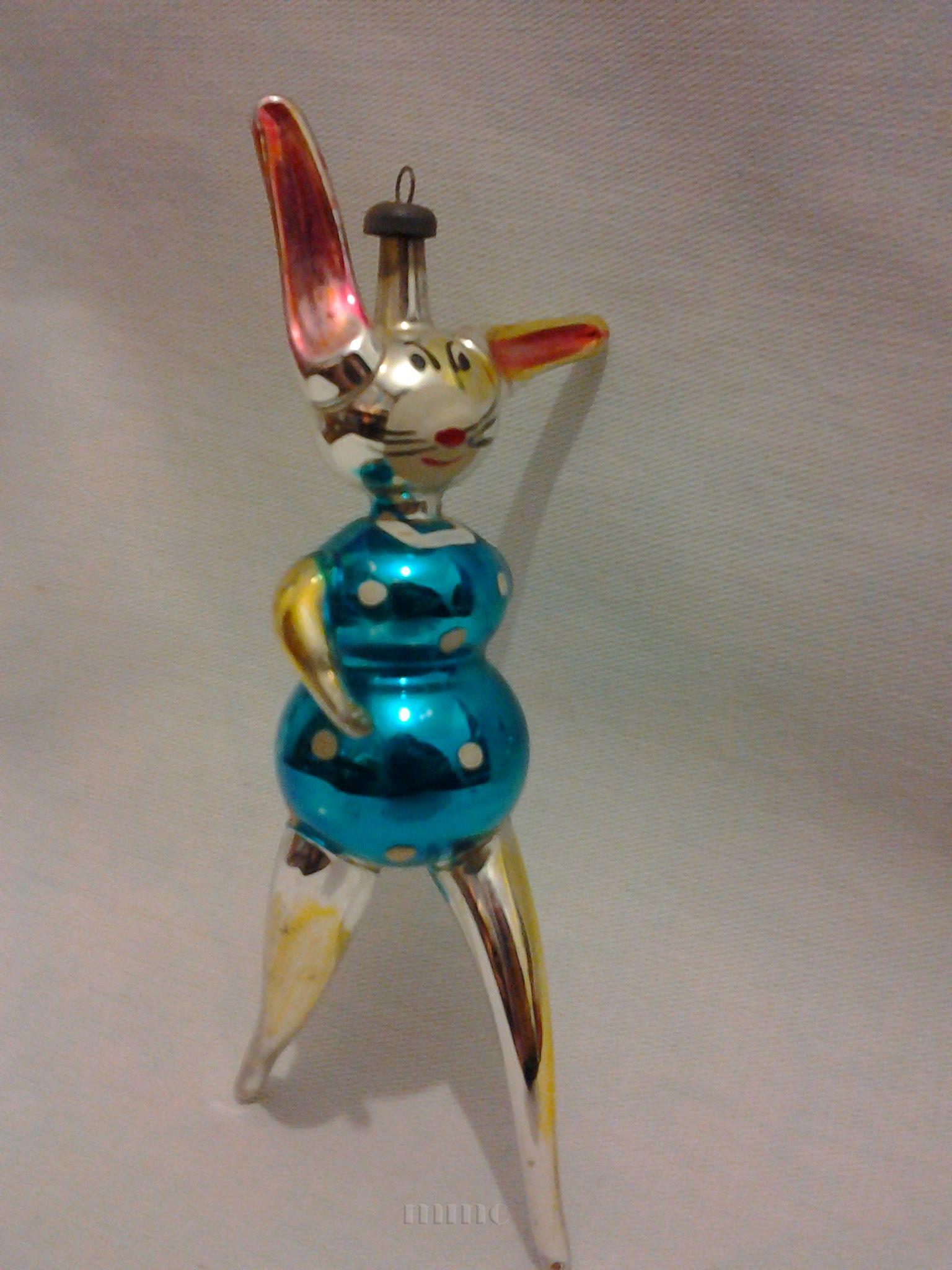 Italian christmas ornaments - Vintage Italian Christmas Ornament Walking Rabbit
