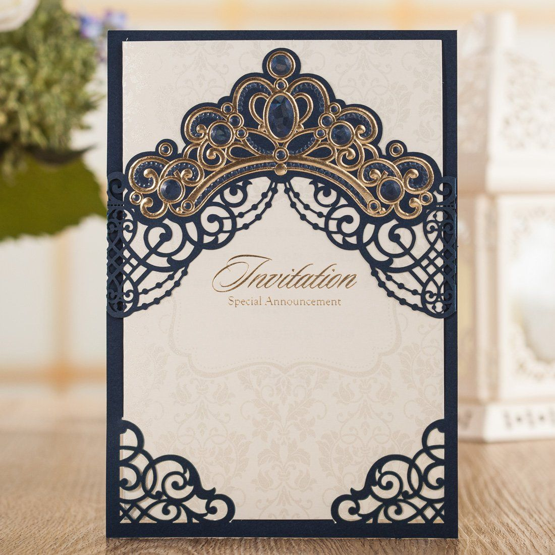 Wishmade Laser Cut Wedding Invitations Cards Navy Blue Square ...