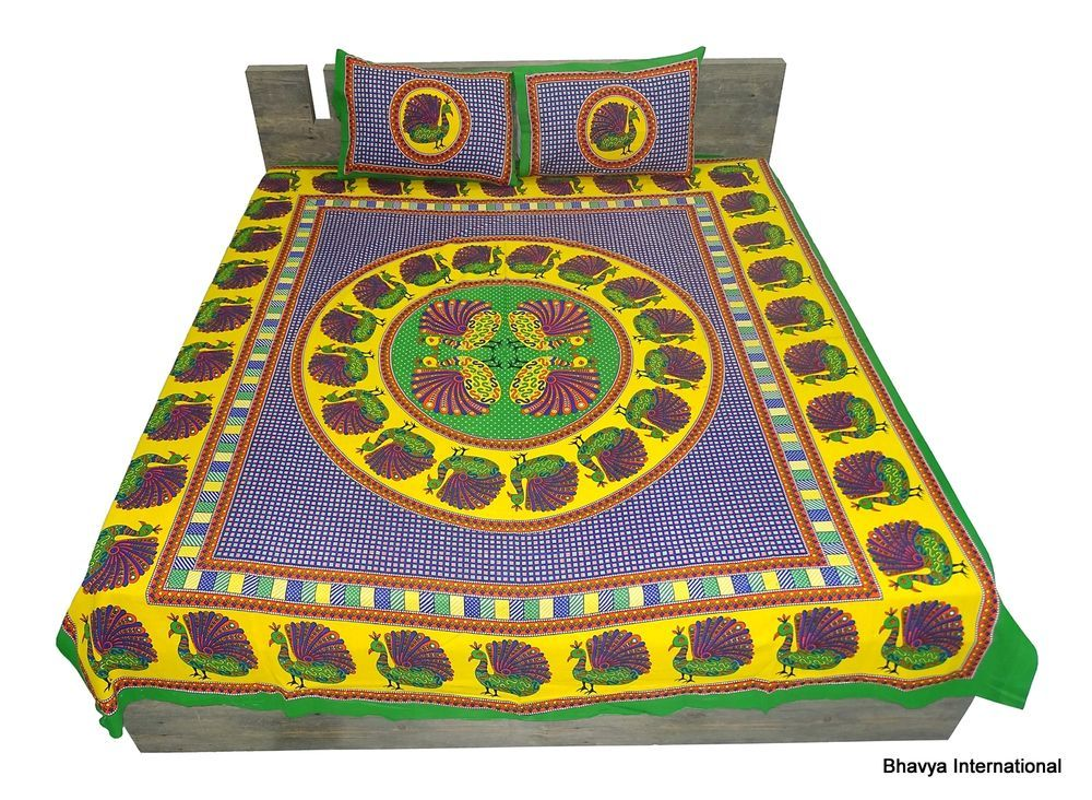 Queen Bedsheet Bohemian Mandala Tapestry Throw Bedspread Peacock Print Bedcover #BhavyaInternational #AnimalPrint