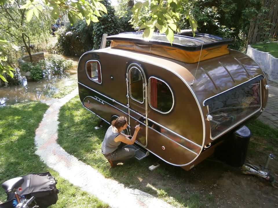 The Yvonne Mostard Is Safe For Now The Level Of The River Rhine Is Still Rising As A Gift She G Vintage Camper Diy Camper Trailer Diy Camper Trailer Designs