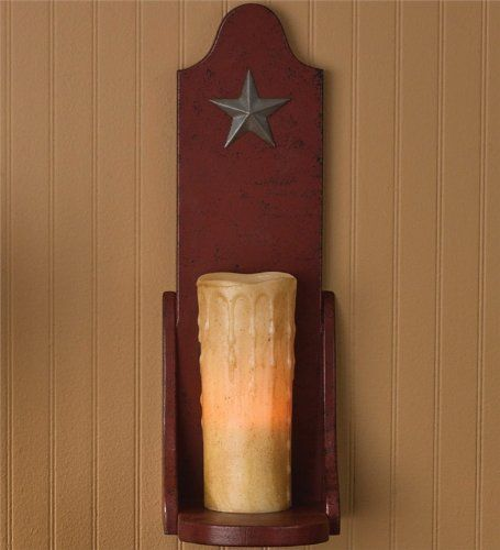 Amazon Com Red Wood Wall Sconce Pillar Candle Holder