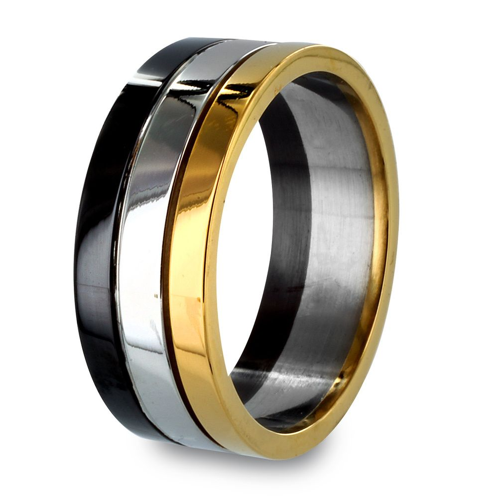 overstock wedding rings Tri color Stainless Steel Grooved Ring by West Coast Jewelry