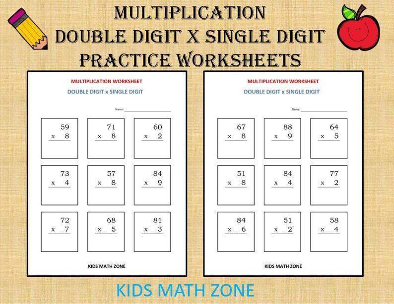 Multiplication double digit x single digit (10 printable