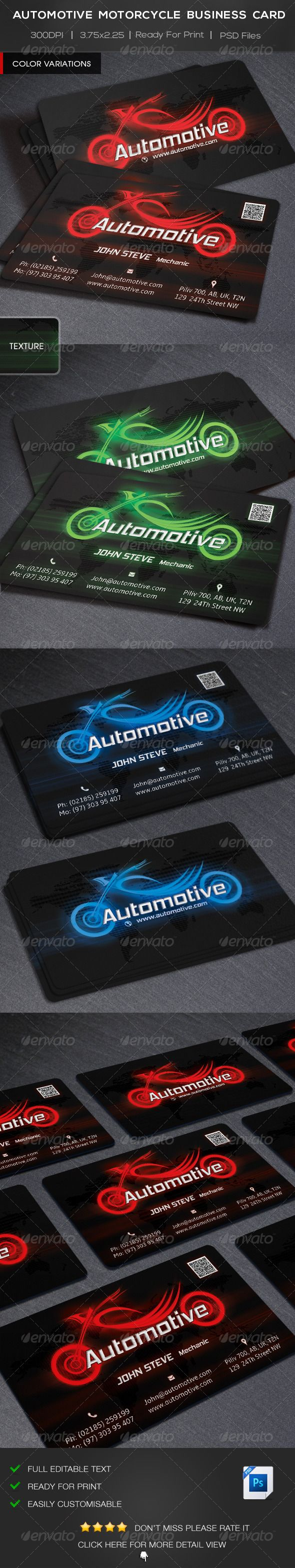 Automotive Motorcycle Business Card | Business cards, Business and ...