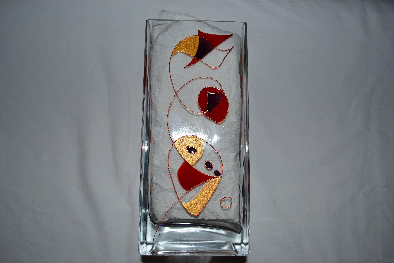 Vase Rectangulaire En Verre Peint Décor Moderne Graphique En Rouge