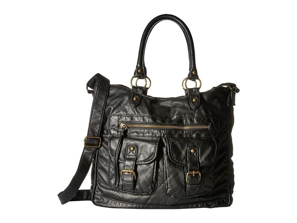 Gabriella Rocha - Sadie Washed Double-Pocket Tote (Black) Tote Handbags - Brought to you by Avarsha.com