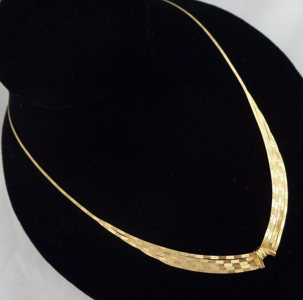 Estate 18K Gold Italian 5 Strand into 1 Herringbone Necklace