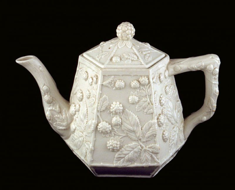 Teapot and lid with blackberry relief design unknown origins