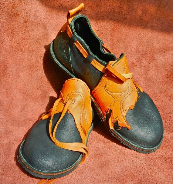 Leather Handmade Shoes forest green MOOSE hide NO by thoseshoes