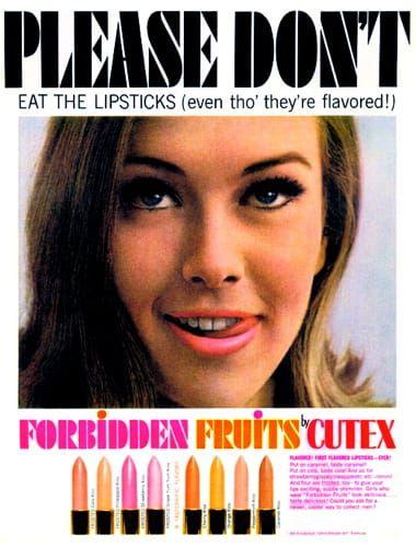 Publicité Vintage - Cutex - Rouge è Lèvres 'Fruits Défendus' - 1964