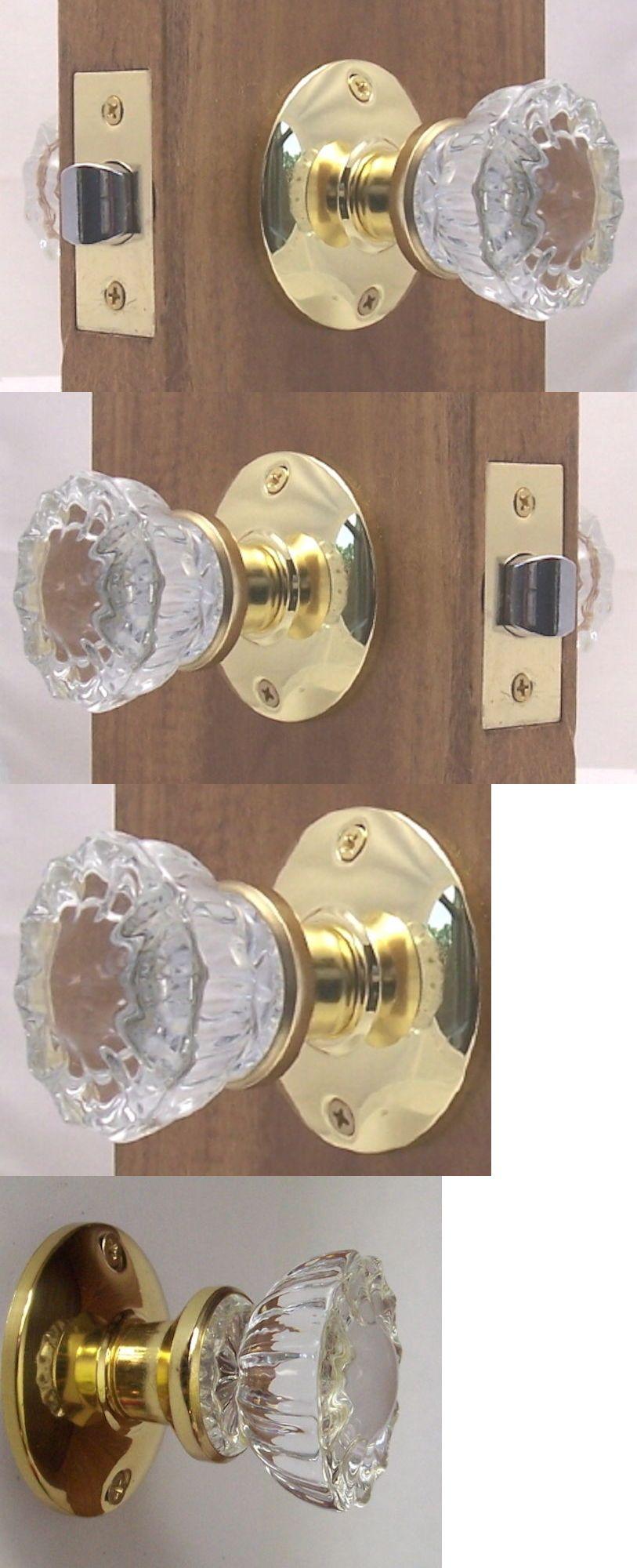 Fluted Depression Crystal Residential Passage Door Knob Set Complete-DIY KIT