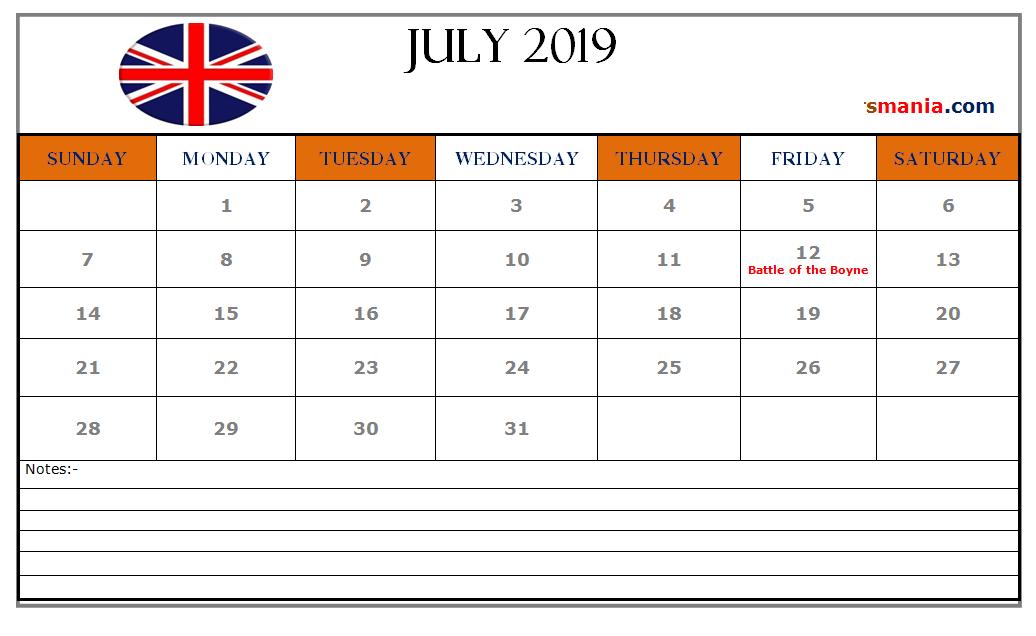 July 2019 Holidays Calendar UK | Calendar uk, 2019 ...