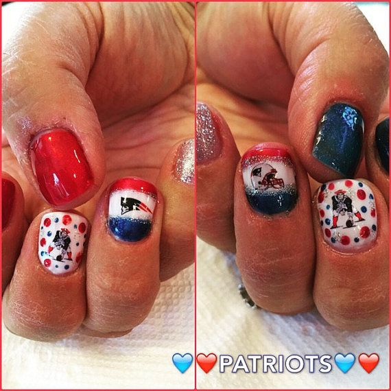 New England Patriots Nail Decals by AMnails on Etsy | Accent Nails ...