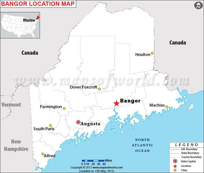 Map Of Maine Bangor Tidal Treasures - Maine cities map