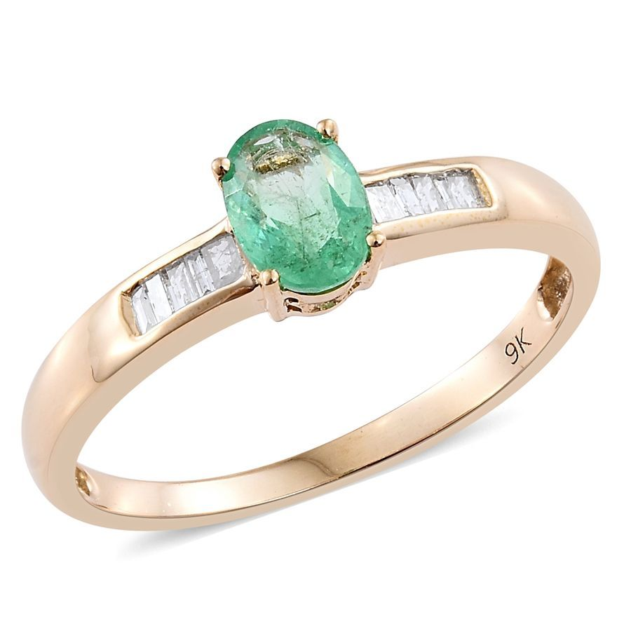 Tjc Emerald Ring In 9ct Yellow Gold Solitaire With Accents