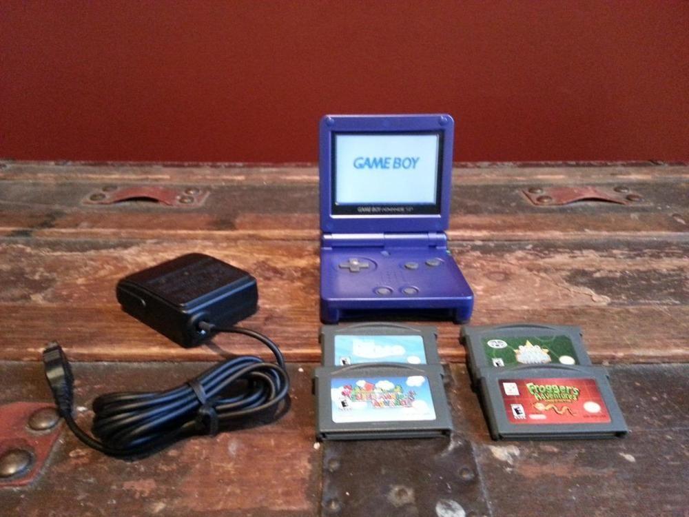 Blue Nintendo Gba Sp Gameboy Game Boy System 4 Games Charger Super Mario Frogger Gameboy Nintendo Nintendo Game Boy Advance