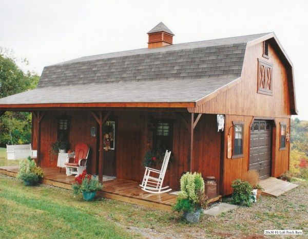 Hi loft porch barn style she cave pinterest porch for Shed with porch and loft