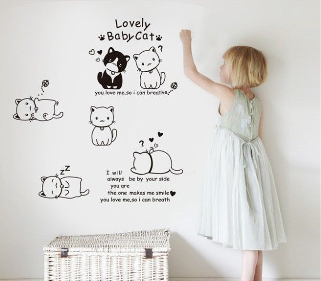 6 Cats Set Lovely Baby Cat Creative Wall Sticker Cute Cats Wall