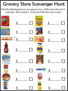 Free Grocery Store Scavenger Hunt Printable Life Skills Special