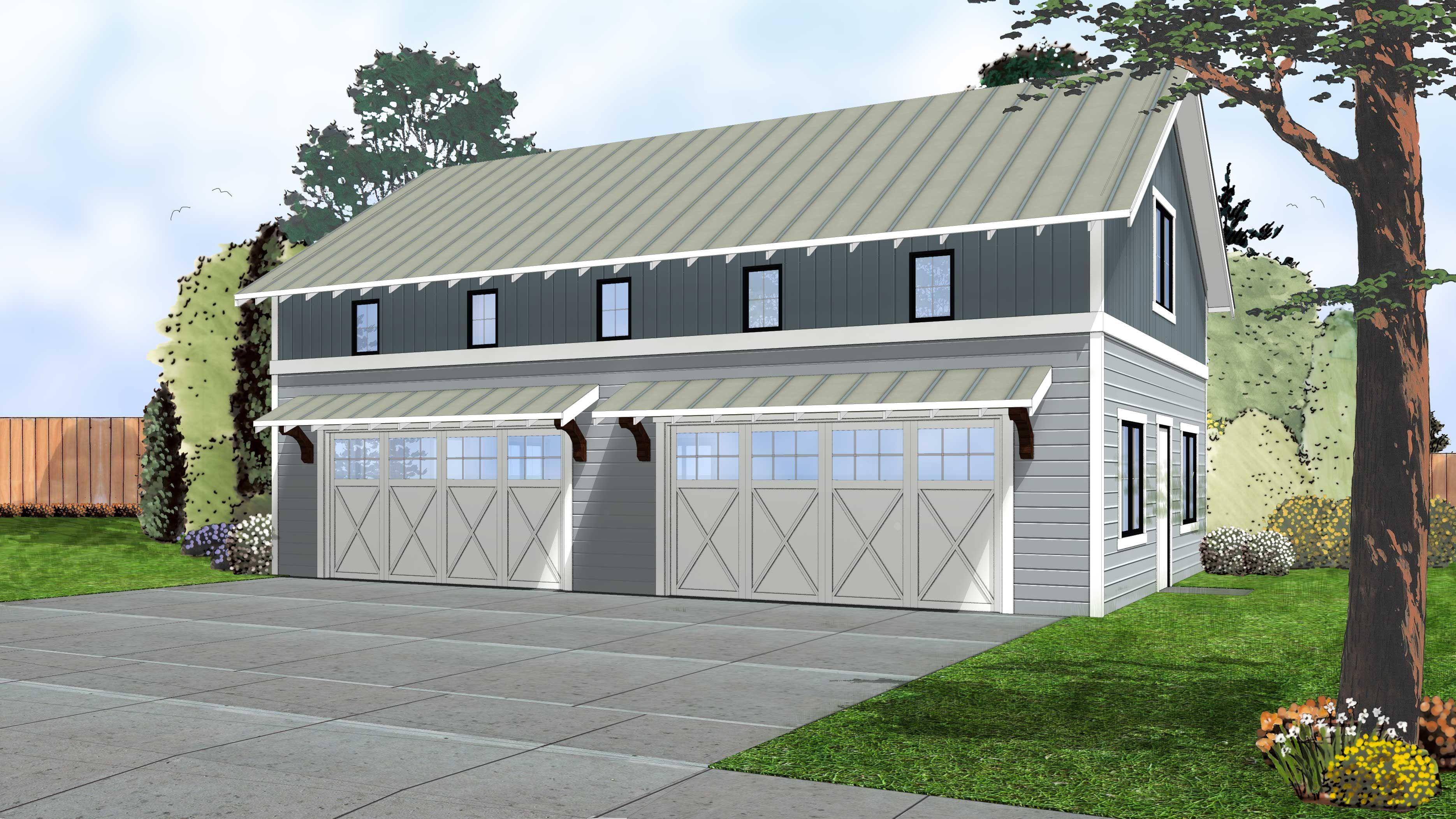 4 Car Garage with Indoor Basketball Court