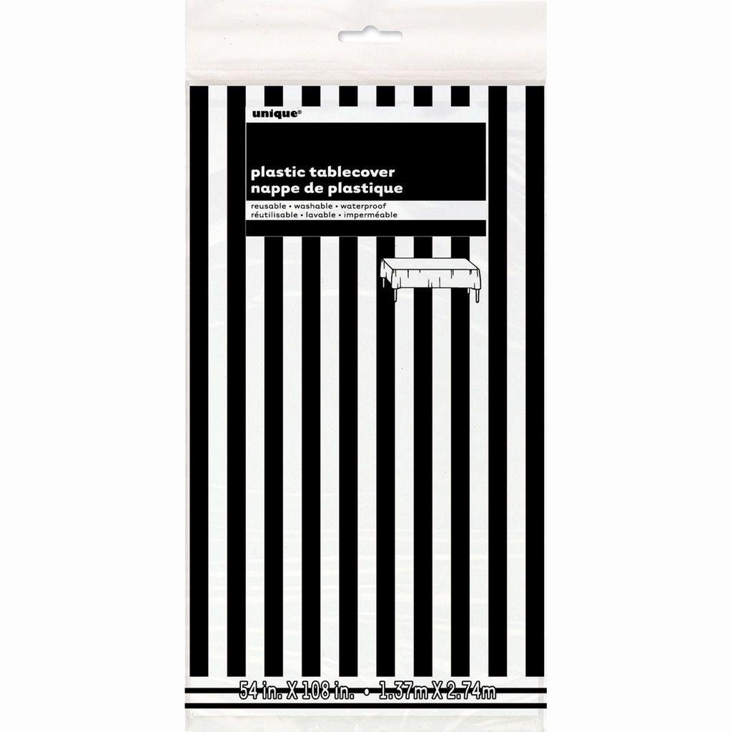 Plastic Black Striped Table Cover 108 X 54 S A