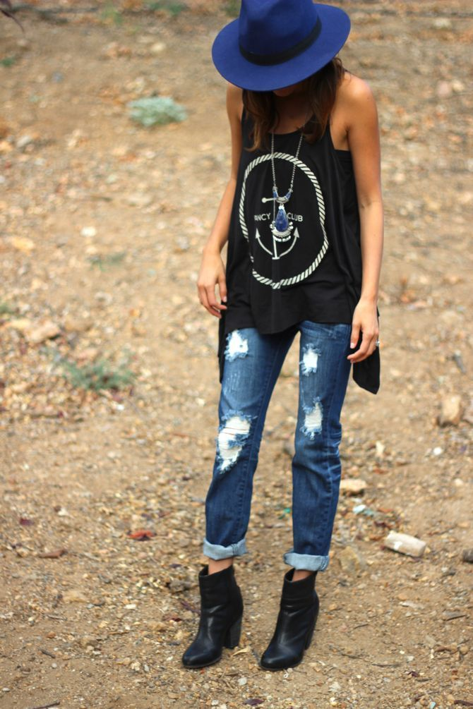 distressed denim + relaxed tank