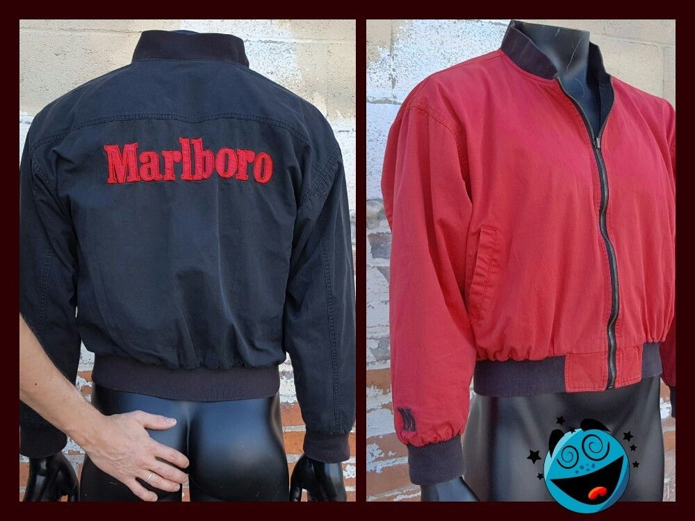 27222d324 VTg Marlboro Bomber Jacket REVERSIBLE Black Red Logo MEDIUM Coat ...