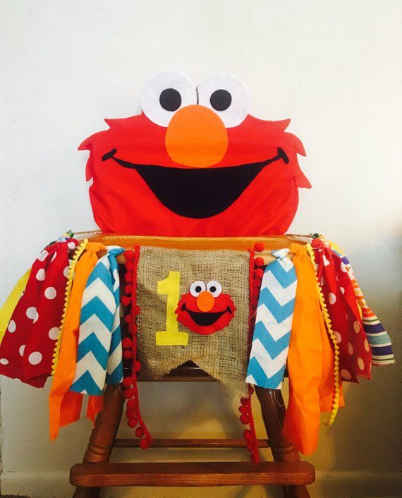 Elmo Birthday High Chair Banner & Cover, boy High Chair banner, High Chair Decoration, photo prop, Elmo party, Sesame Street Party #boybirthdayparties