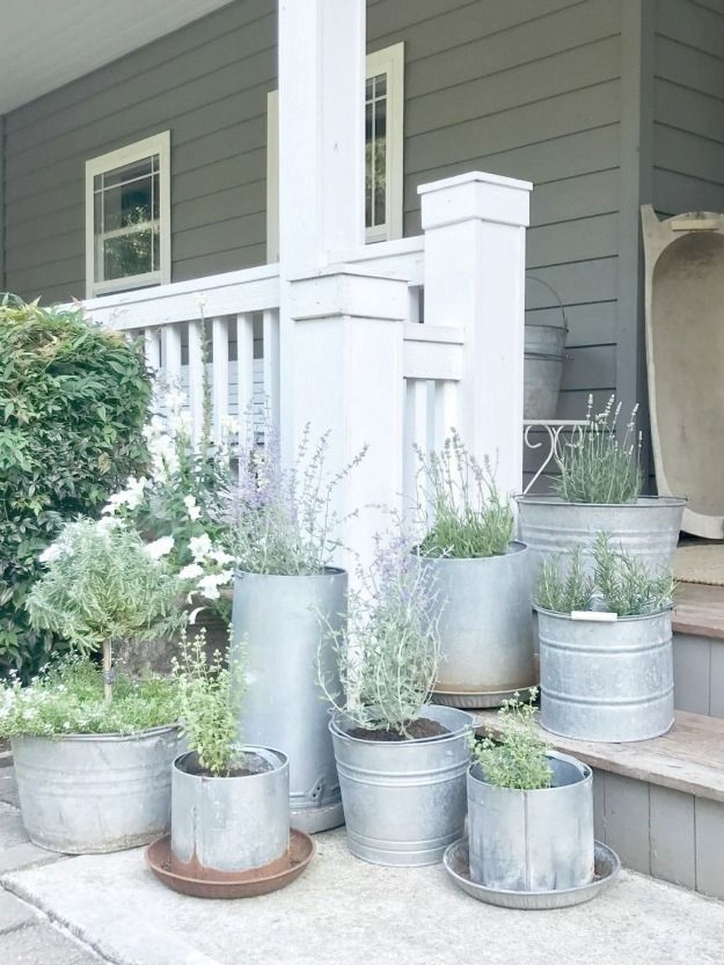 Eclectic Galvanized Metal Planters Country Cottage Decor Galvanized Planters Metal Planters