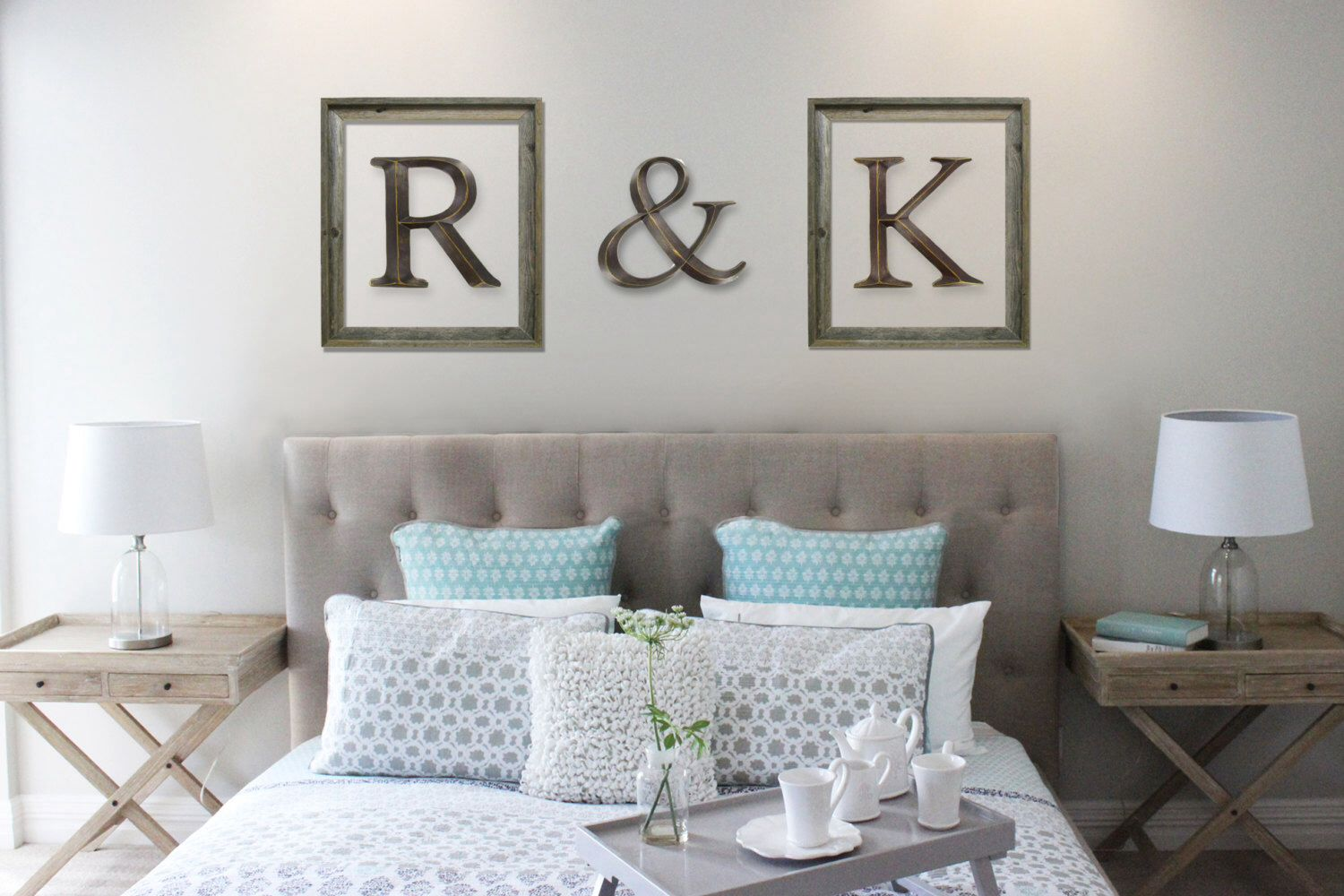 Initials in picture frames master bedroom letter