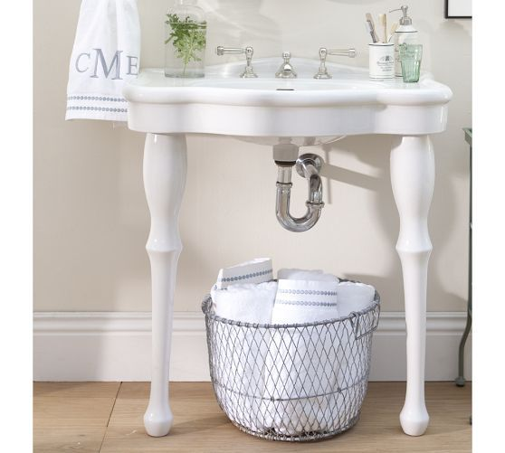 Parisian Pedestal Double Sink Console: Parisian Pedestal Single Sink Console