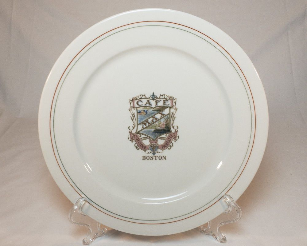 Antique 1910s Max Cafe Boston 9 3/4  Dinner Plate By Maddock Trenton NJ : antique plates nj - pezcame.com