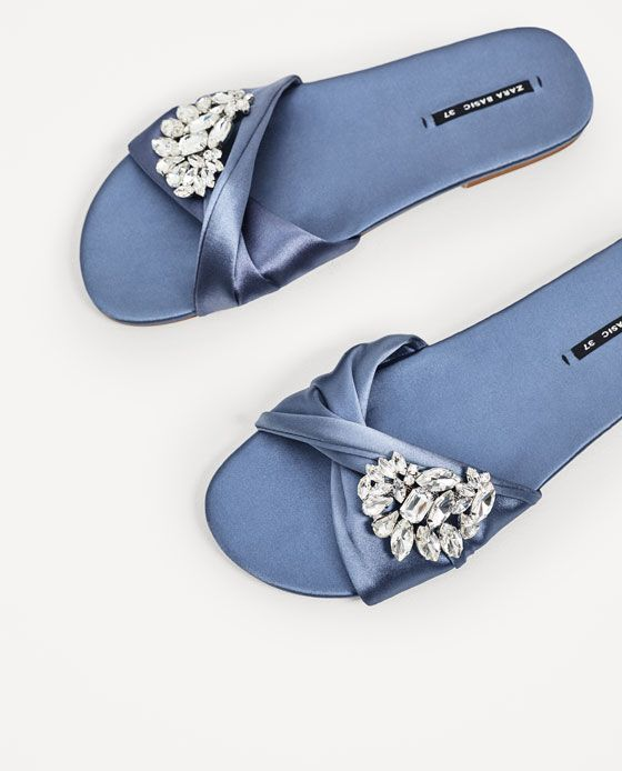 66b4342904281 Image 7 of SATIN SLIDES WITH GEM BUCKLE from Zara