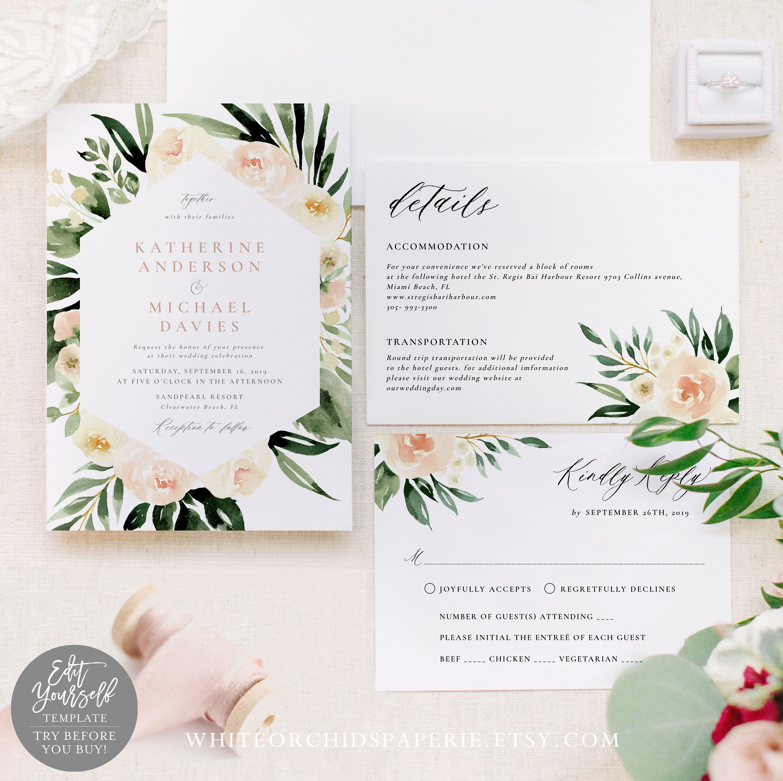 Pink Editable White Floral Wedding Invitation Set Botanical Blush Floral Wedding Invitation Download Garden Instant Download PDF