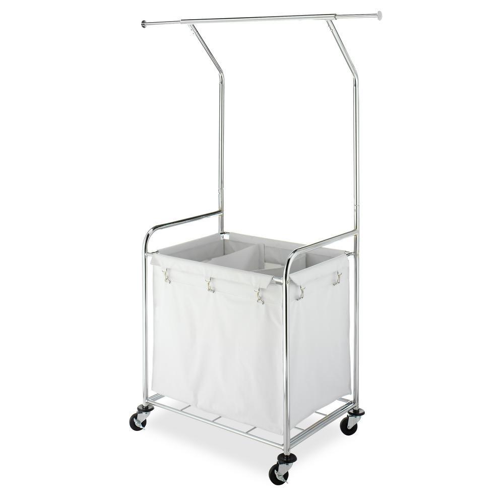 Commercial Laundry Center White Chromed Steel Frame 3 Bin Laundry