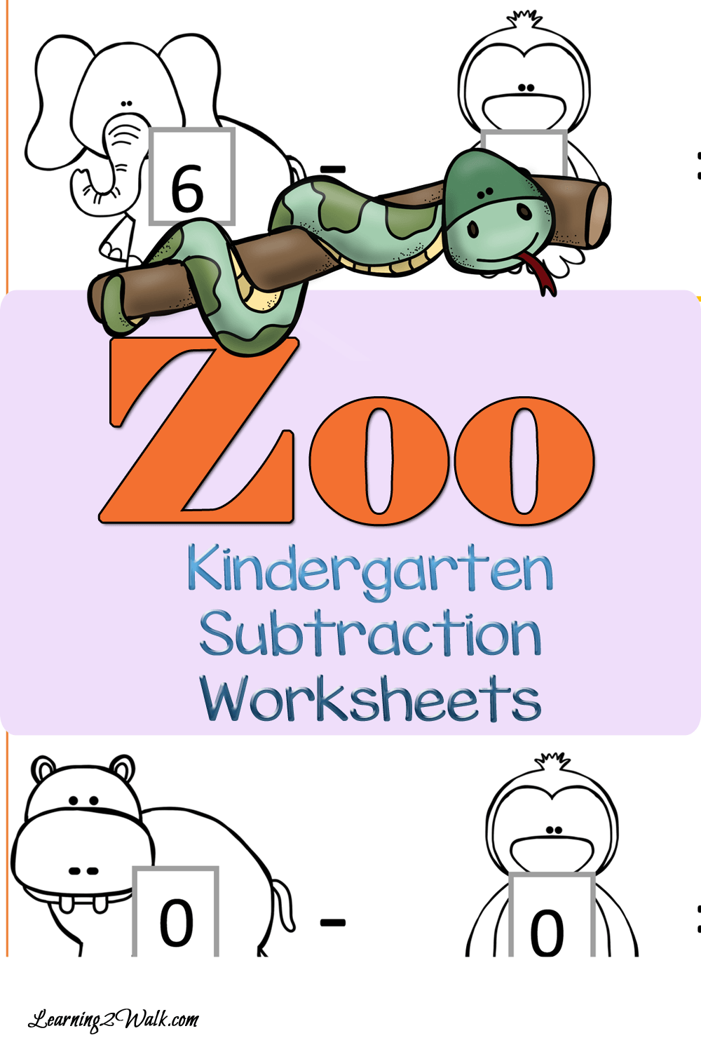 Zoo Kindergarten Subtraction Worksheets | Subtraction worksheets ...