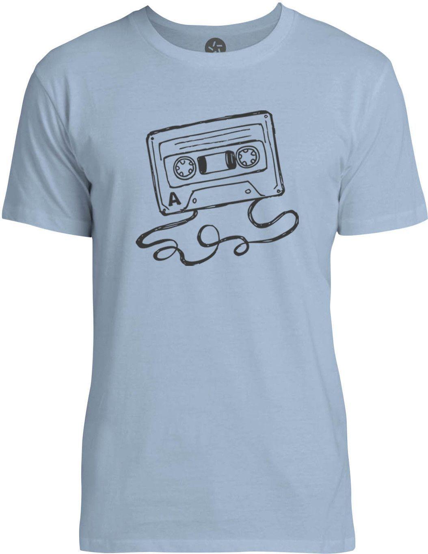 Hand Drawn Cassette (Grey) Mens Fine Jersey T-Shirt