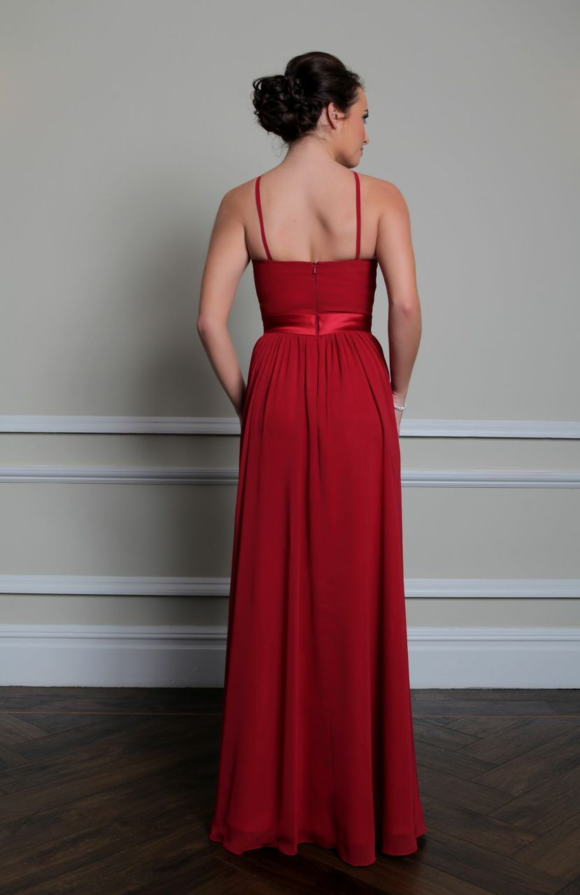 Sabra Beautifully Made From Chiffon With A Satin Waistband This Dress Is Floor Length High Neckline Thin Straps That Carry On Down The Back