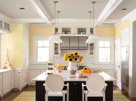 White Cabinets Yellow Walls Marble Counters Yellow Kitchen Walls Kitchen Design Color Kitchen Color Trends