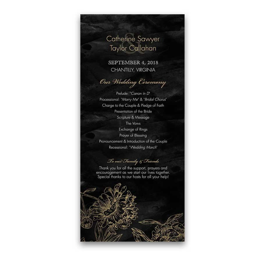 how to address couples on wedding invitations%0A Wedding Ceremony Programs Gold and Black Floral designed to coordinate with  our Gold Black Floral Wedding