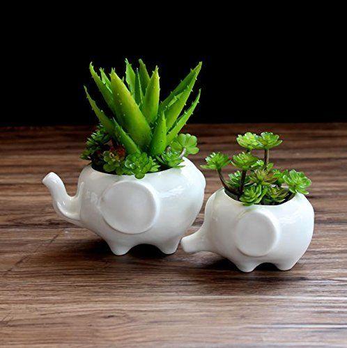 Sea Star Set Of 2 Cute Elephant Flower Pot Modern White Ceramic Succulent Planter Pots Tiny Flow Ceramic Succulent Planter Ceramic Flower Pots Succulent Pots