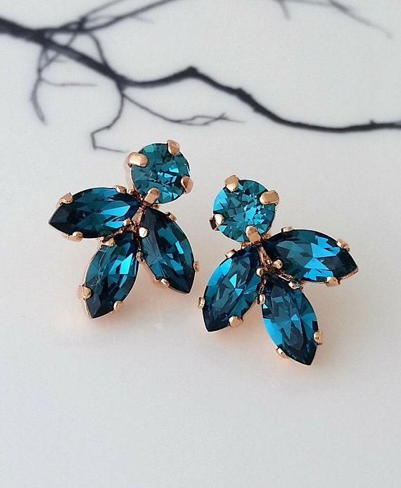 Teal earrings,Teal blue earrings,Bridal earrings,Rose gold ...