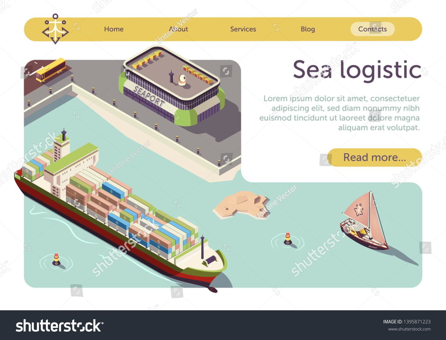 Sea Logistic and Maritime Transportation Isometric Banner. Sea Freight and Shipping. Seaport, Cargo Ships, Steel Containers, Sail-Boat and Bus. Import Export Transport Industry. Vector 3d Illustration #Sponsored , #SPONSORED, #Shipping#Freight#Seaport#Ships
