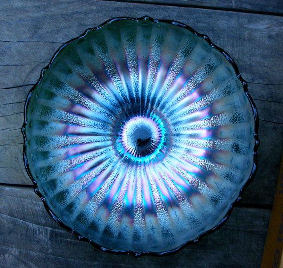 Vintage Carnival Glass Candy Dish Bowl Green by EphemeralDesires, $25.00
