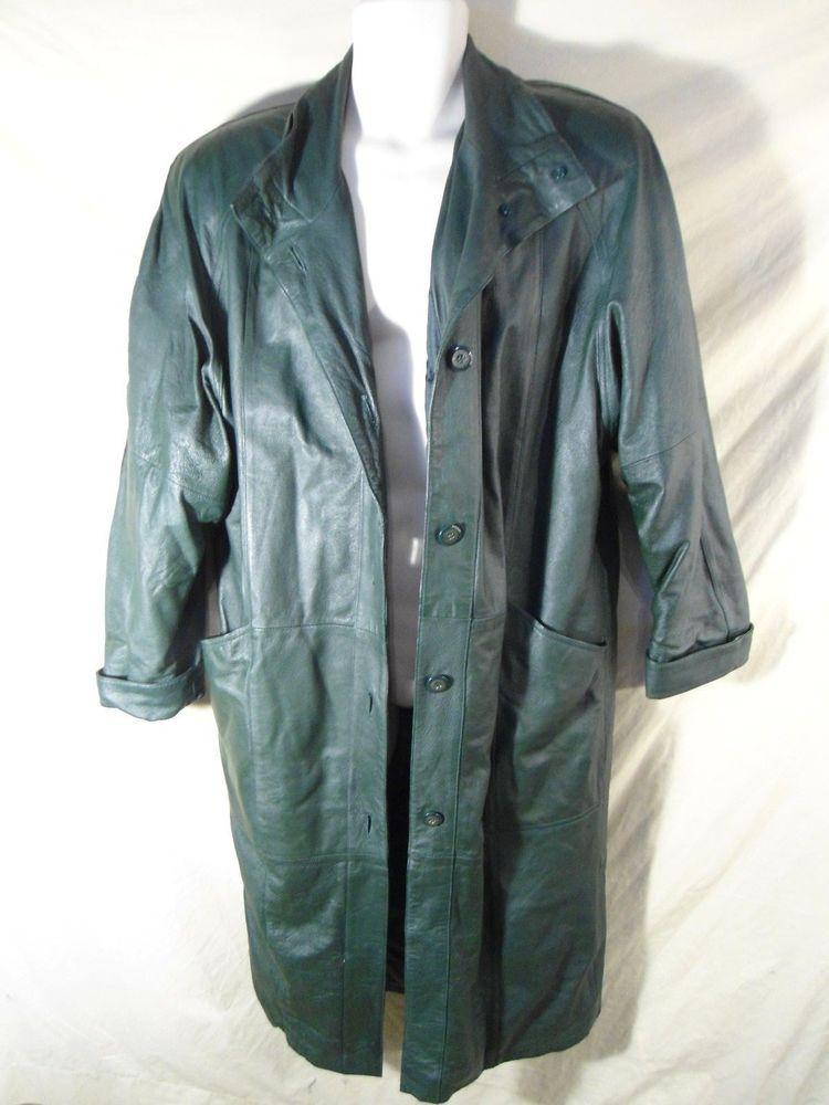 VINTAGE Jacqueline Ferrar Green Leather Trench Coat Jacket Women's-Petite Medium #JacquelineFerrar #Trench