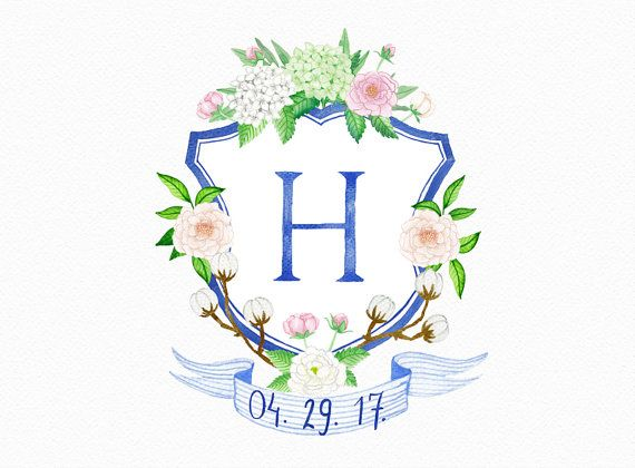 Custom Watercolor Wedding Crest Hand Painted Family Crest
