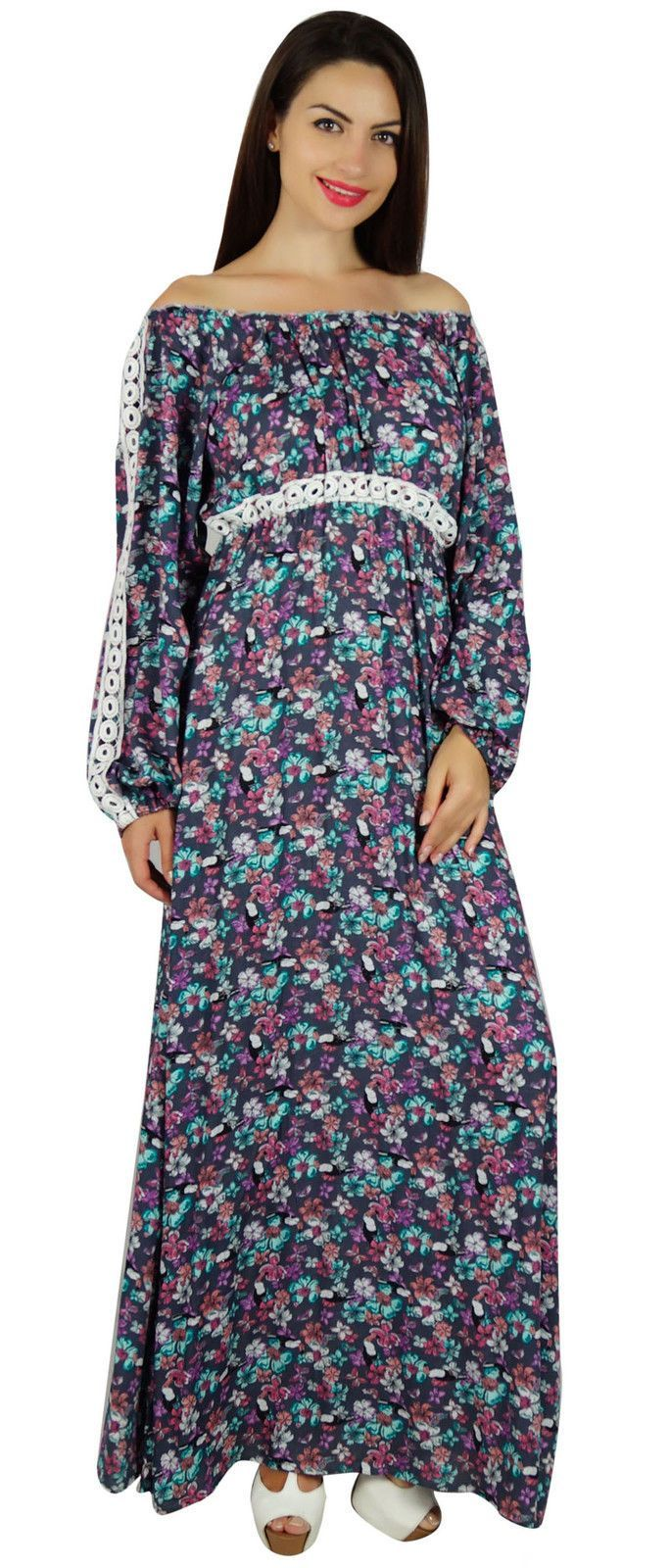 Bimba Women Long Maxi Dress Boho Gothic Style Long Sleeve Classic ...