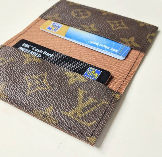 e8b1221fb91f LV business card holder - Repurposed Louis Vuitton small wallet - Upcycled Louis  Vuitton wallet - LV