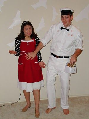 great couples costume idea pregnant 1950s housewife and the milkman